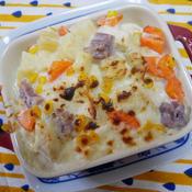 ハロウィンなパスタと鶏むね肉で作るグラタン