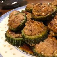 甘酢だれでいただきます☆にがうりの肉詰め☆他にも夏野菜タップリの満足ごはん。