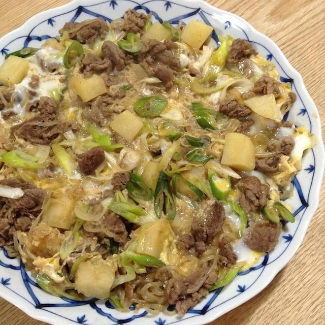 久しぶりの牛肉メイン料理 「牛すき焼き丼」