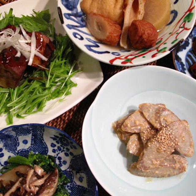 お酒の肴にまたまたごぼう:酢ごぼうの粕味噌和え、豚の角煮、おでん、菜の花きのこ