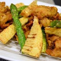 <完熟パイナップルフルブラで作る春野菜とパイン鶏のやわらか唐揚げ>