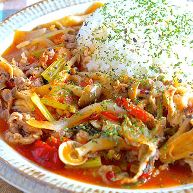 冷蔵庫の残り野菜の救世主!旨味エキスた〜っぷり♡隠し味入りのトマトポークライス《簡単★節約》