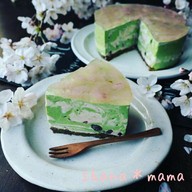 毎日したい❤と、春爛漫♪桜舞い散る桜餅風マーブルレアチーズケーキ♪