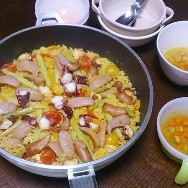 昨日は、たことソーセージのパエリア♡ #オーマイ で簡単、本格的な味!#日本製粉