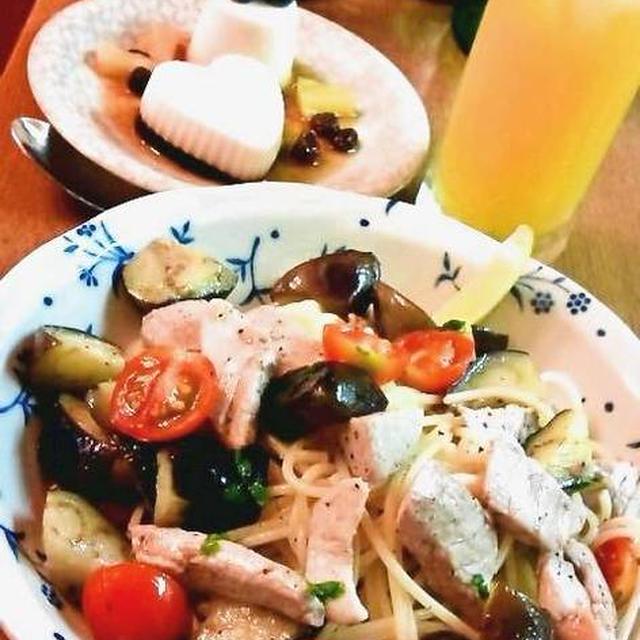 マグロと茄子とミニトマトのスパゲッティ