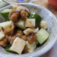混ぜるだけ☆ コロコロきのことチーズの梅海苔納豆サラダ