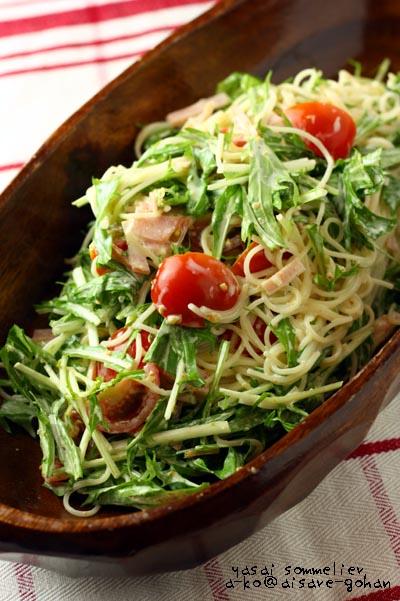 3行レシピ♪「水菜とハムのパスタサラダ \u201c和風胡麻マヨ味