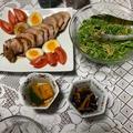 焼き豚と無限豆苗の夕食^0^