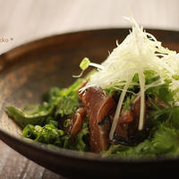 鰹のたたきと山葵菜のサラダとかとか