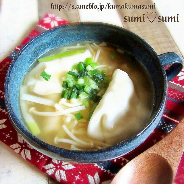 炒めネギどっさり♡生姜のスープ餃子