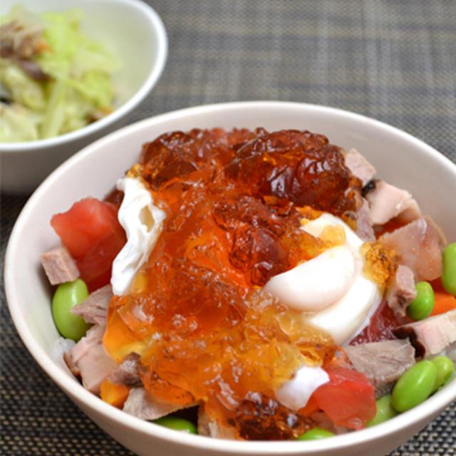 ジュレたま丼、塩サバのマリネ、かぼちゃのペッパー南蛮漬け、2日分晩ご飯。