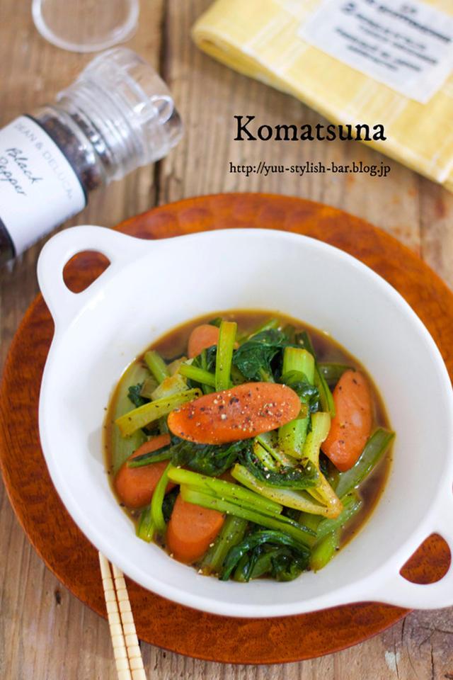 【味付け別】お弁当にもおすすめ!小松菜×ウィンナーの人気レシピ15選
