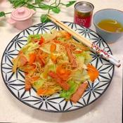 カレー風味の素麺チャンプルー