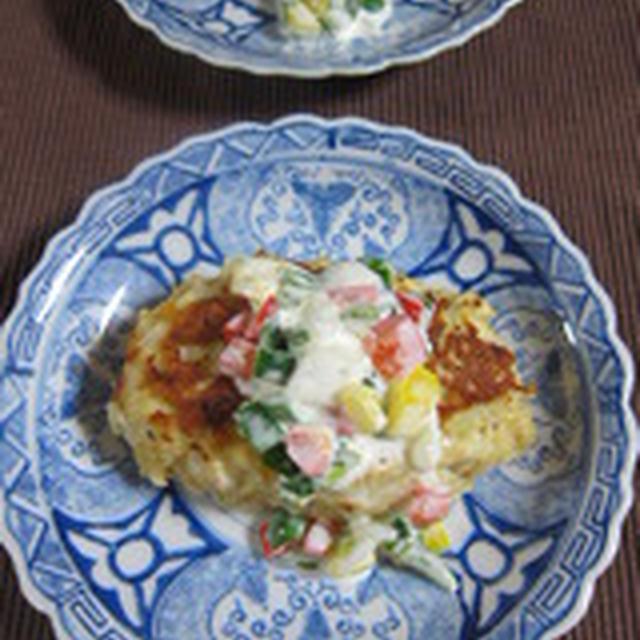 「ピーマントリオの鶏ハンバーグ」