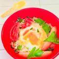 レンチンで簡単!カフェ風♪トマトとセロリとウィンナーの目玉焼き丼♡