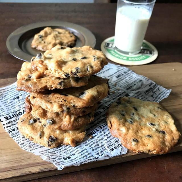 【バレンタインに】感動のサクサク感!チョコチップナッツクッキー*ホットケーキミックスのレシピです