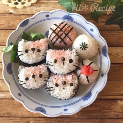 明太子ご飯で猫ちゃんおにぎり*