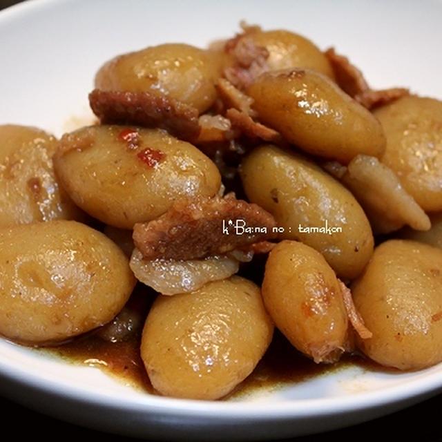 豚肉と玉蒟蒻の、煮っころがし