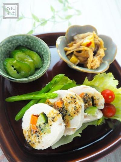 【レシピ・献立】レンジで簡単、棒棒鶏チキンロール
