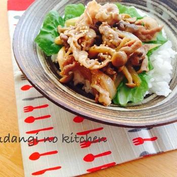 簡単!休日のお昼ご飯に♪焼肉のたれ×味噌de豚丼