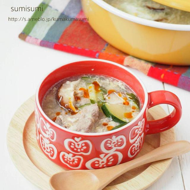 きゅうりとズッキーニのふんわり たまごスープ