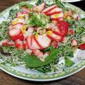 濃姫(苺)でベビーリーフとスプラウトのサラダを作ってみた。ドレッシングの油分で甘さがサラダっぽさを邪魔しないからいい感じ