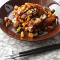豚ロース、柿、ピーマンのカラフルステーキ