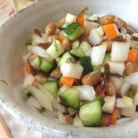 山形のだし風☆ 刻み野菜ときのこと納豆和え