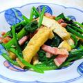 """鉄分はタンパク質と一緒に摂るのが効果的 """" ほうれん草とベーコン・厚揚げのソテー """""""