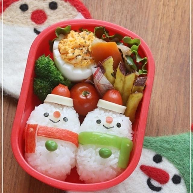 【(仲良し雪だるまのお弁当*簡単可愛いクリスマス弁レシピ)】