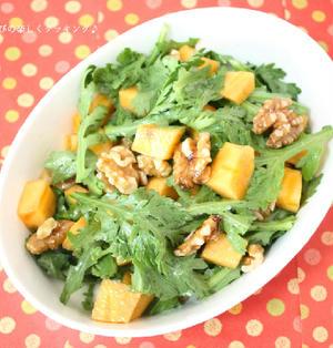 しりとりみたいな食材!? 柿と春菊のサラダ