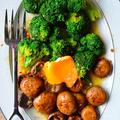 5分でうちバル! ブロッコリーとマッシュルームのアーリオオーリオ 冷凍卵のせ