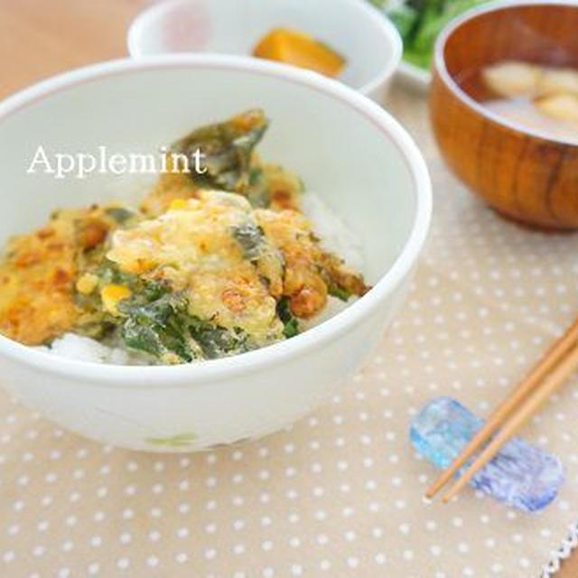 ◆節約レシピ◆大根の葉ととうもろこしのかき揚げ丼