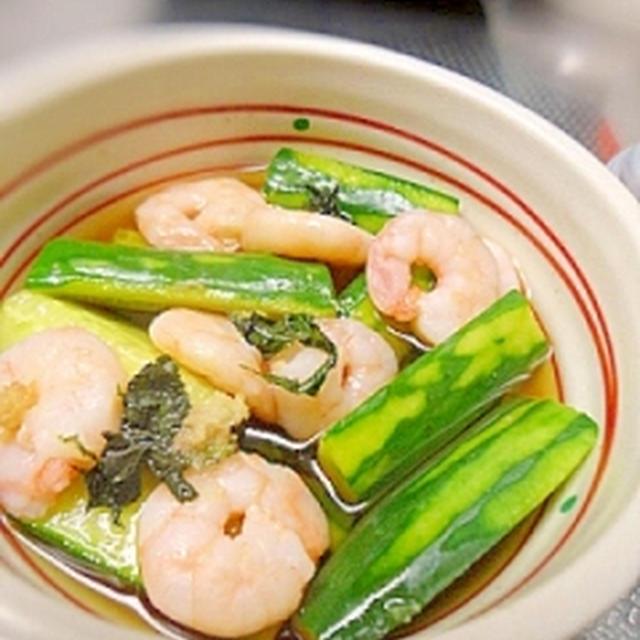 レンジで簡単☆海老ときゅうりのさっぱり煮浸し 冷やし素麺でも