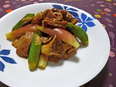 豚肉と茗荷の黒酢炒め
