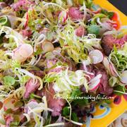 夏のごちそう一品「牛肉のたたきと焼きナスのサラダ」、見晴らし邸での夜宴会♫