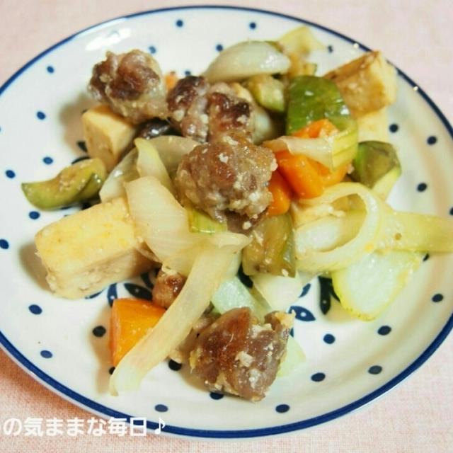 豚小間団子で☆野菜の塩麹炒め