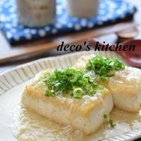 お豆腐ステーキ、生姜帆立あんかけ ~夏バテ気味な体に、やさしく効きます