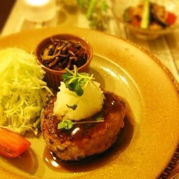 茄子バーグ~洋と和、二種のソースで♪とバルサミコ風味の揚げ浸し