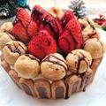 あっという間にできる苺とお菓子で飾ったクリスマスケーキ