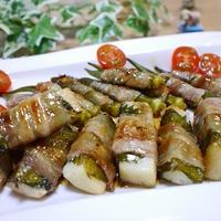 長芋とオクラの豚バラ肉巻酢照り焼き