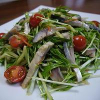 【モニター当選】シメサバの水菜ときゅうりのサラダ♪