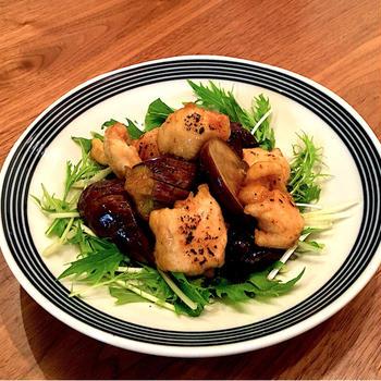 レンチン下ごしらえで簡単!茄子と鶏むね肉のポン酢炒めとシャキシャキ水菜