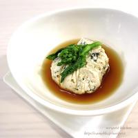 レンチンde簡単♡お豆腐と鶏ひきの茶巾蒸し♡