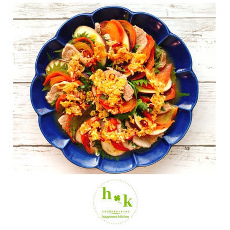 ■豚肉と夏野菜のさっぱり蒸し<br><br>「レンジであっという間にできちゃう簡単レシピ!しかも糖質...