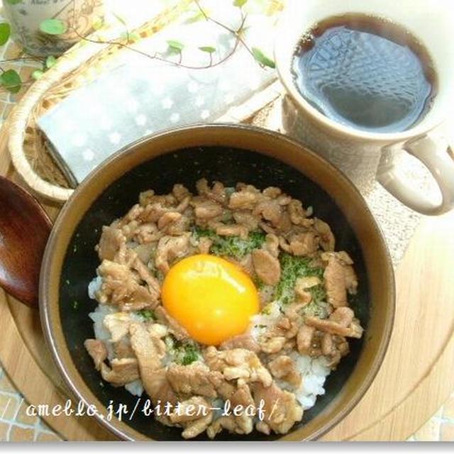 豚肉de焼肉風丼on卵