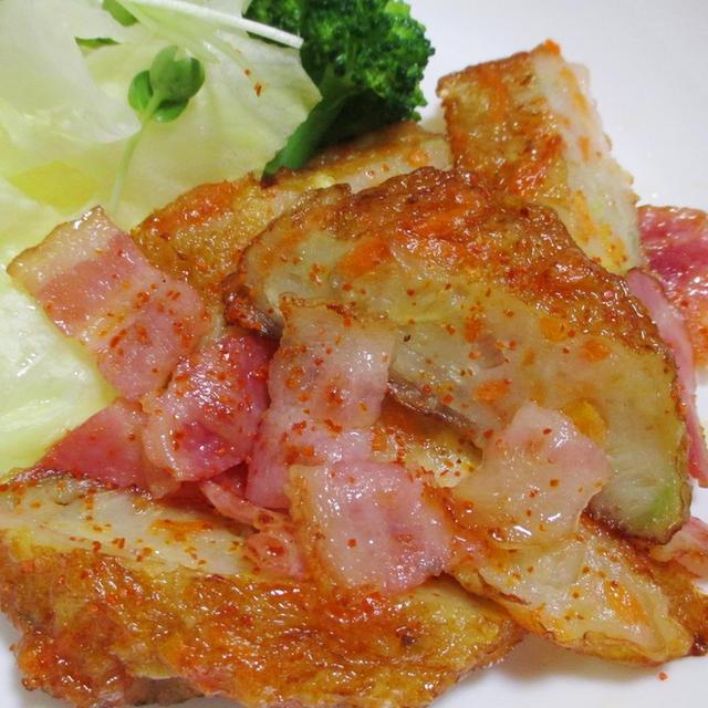 野菜天とベーコンの一味唐がらし炒め