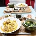 【献立】4人家族の晩ごはん/お出汁がジュワー!焦がし醤油風味の親子丼