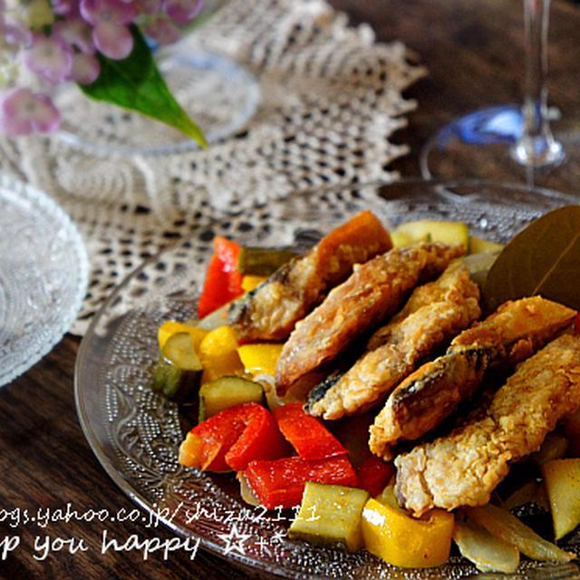 +*ごまサバと夏野菜のカレーマリネ+*
