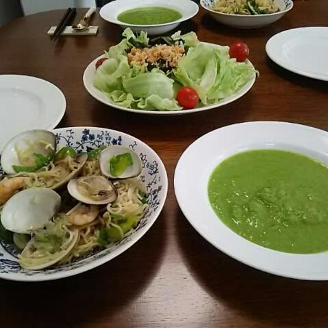 緑の食卓・焼そばで一汁一菜(笑)  、一番刈り韮ソースの紹介